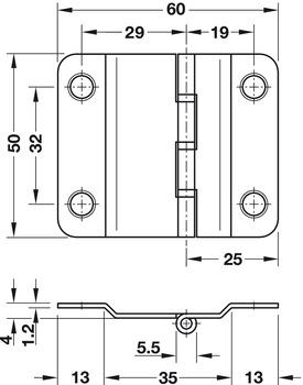 Cerniere Per Ante Scorrevoli A Libro.Cerniera Da Avvitare Per Ante Scorrevoli A Libro Misura 50 X 60 Mm