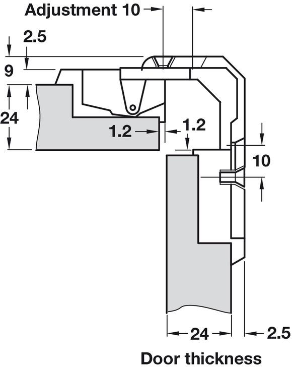 Cerniera per ante a libro,per armadi ad angolo, fuga 4 18 mm