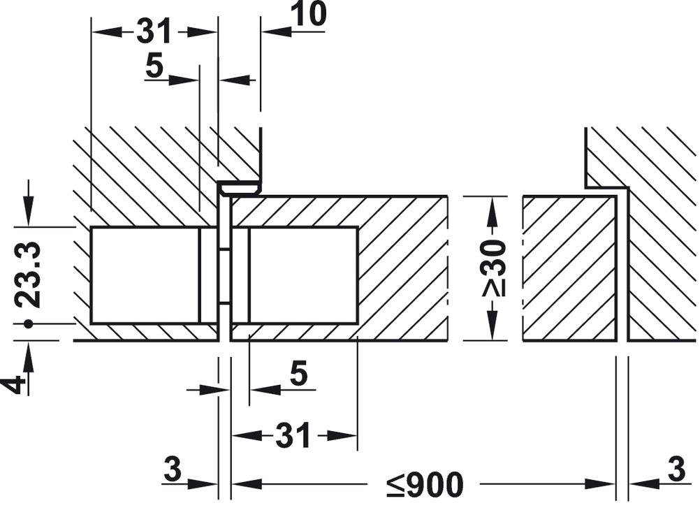 Cerniera per porta,Startec H2, montaggio invisibile, per porte ...