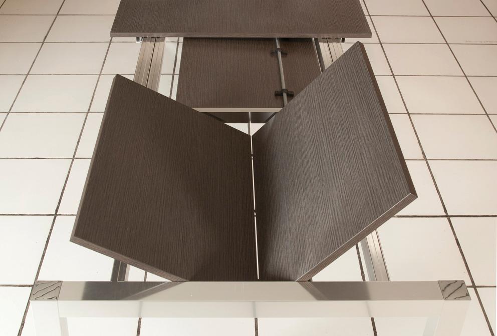 meccanismo per tavolo allungabile per 2 allunghe di testa