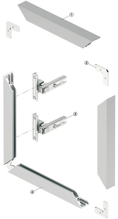 Profilo telaio in alluminio per ante in cristallo,26 x 14 ...