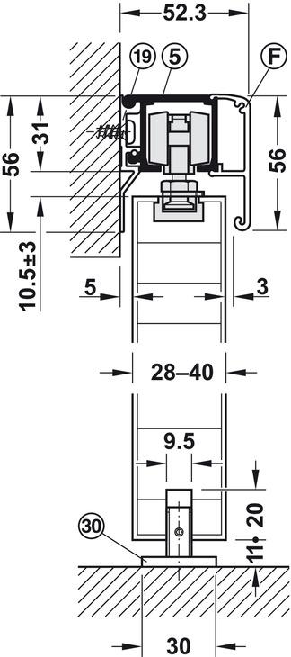 Guarnitura per porte scorrevoli,Silent 80 B, guarnitura – in Häfele ...